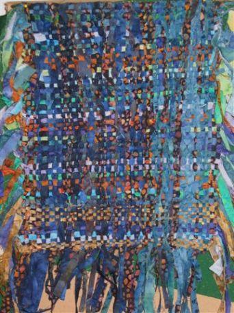 Pièce de tissasge en fines lanières de batik - Piece woven from skinny batik strips